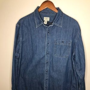 L.L. Bean denim button down S/Large TALL
